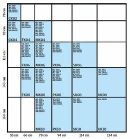Velux mérettáblázat